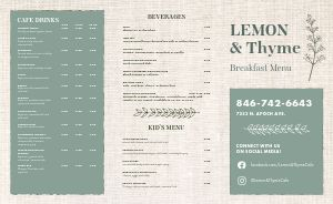 Burlap Breakfast Takeout Menu