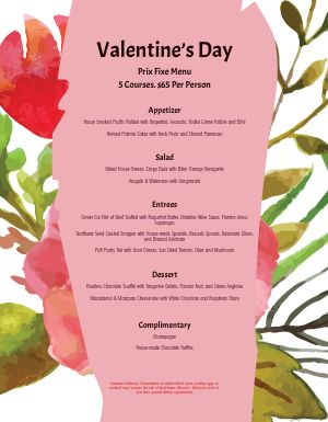 Flowery Valentines Day Menu
