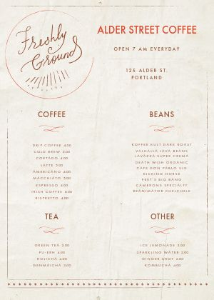 Parchment Coffee A4 Menu