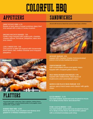 Color Block BBQ Menu