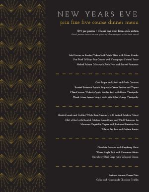 Upscale New Years Menu