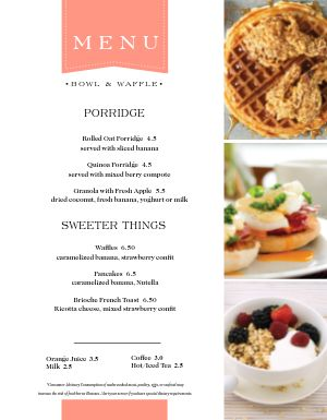 Family Breakfast Menu