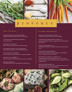 French Vegetable Menu