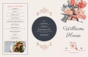 Floral Fine Dining Folded Menu