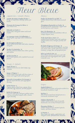 Blue Trim French Menu