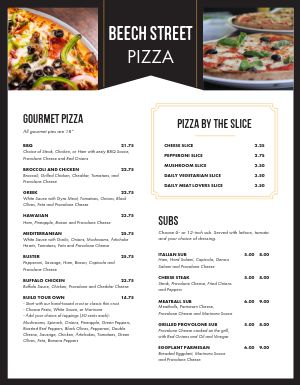 Contemporary Pizza Menu