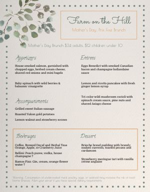 Mothers Day Prix Fixe Brunch Menu