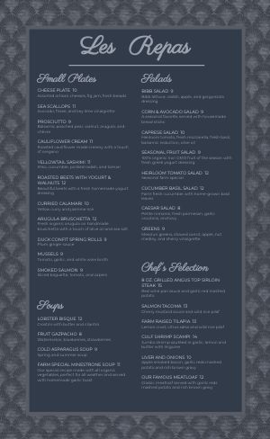 Aqua Fine Dining Menu
