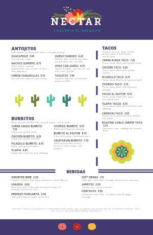 Mexican Taqueria Tabloid Menu