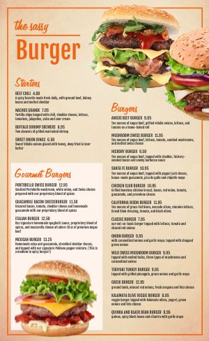 Cheeseburgers Burger Menu