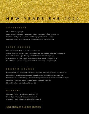 Crackling New Years Menu
