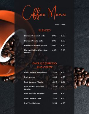 Compact Coffee Menu