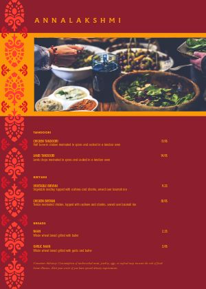 Indian Veggie A4 Menu