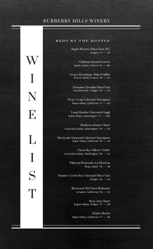 Alcohol Wine List Menu