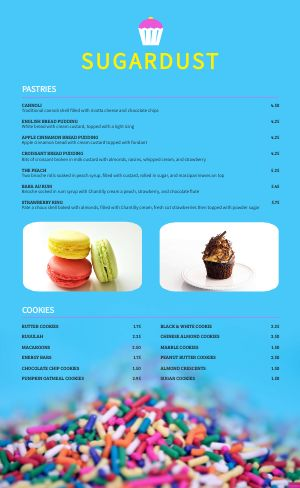 Colorful Bakery Menu