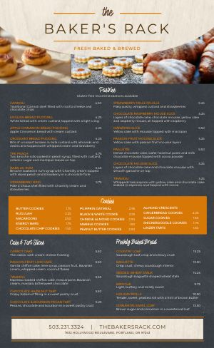 Contemporary Bakery Menu