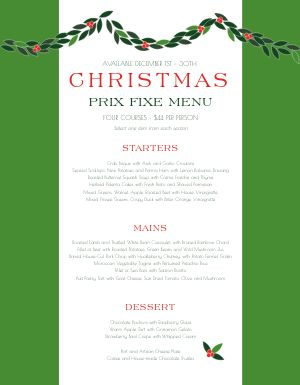 Christmas Garland Menu