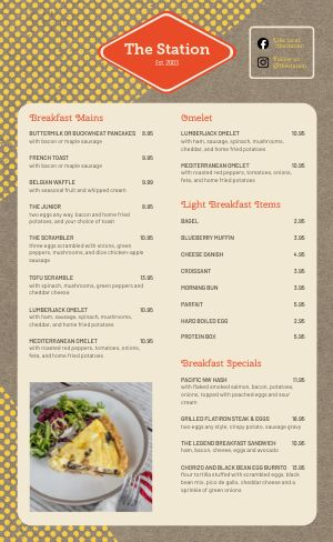 Sample Diner Menu