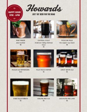 Pub Drink Grid Menu