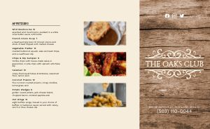 Antique Country Club Takeout Menu