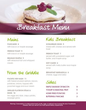 Fresh Breakfast Menu