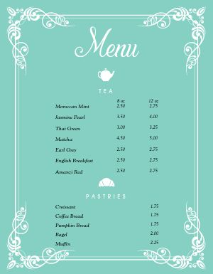 Cafe Tea Menu
