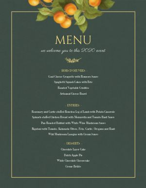 Private Event Menu Sample