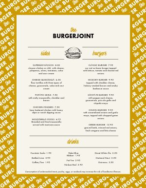 Old Timey Burger Menu