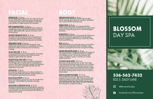 Blossom Day Spa Folded Menu