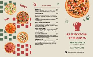 Italian Toppings Pizza Takeout Menu