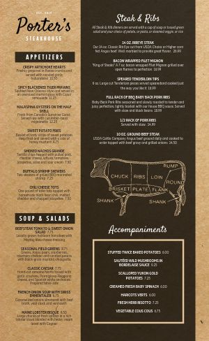 Steakhouse Cow Menu