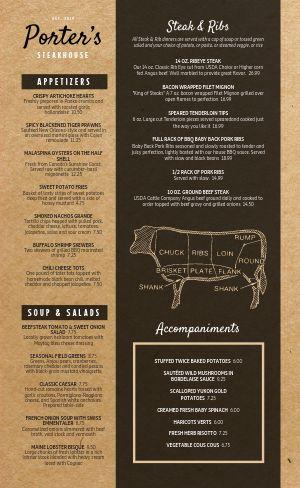Steakhouse Cow Menu