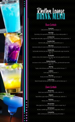 Colorful Night Club Menu