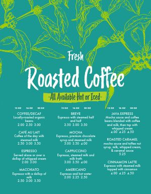 Roasters Coffee Menu
