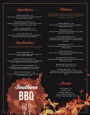 Southern Fire BBQ Menu