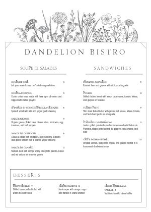 White French A4 Menu