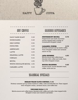 Plain Coffee Menu