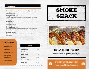 BBQ Sandwiches Bifold Takeout Menu