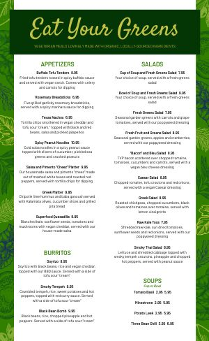 Vegan Dining Menu