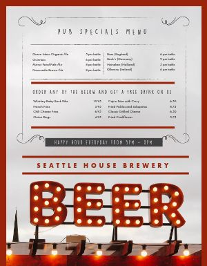 Pub Beer Sign Menu