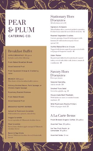 Purple Catering Menu