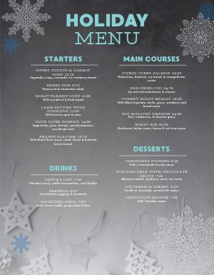 Metallic Christmas Menu