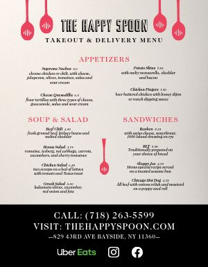 Carryout Takeout Menu