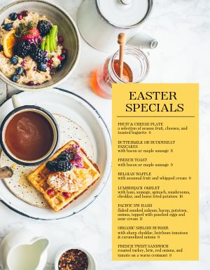 Easter Breakfast Specials Menu