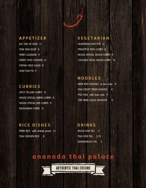 Thai Fine Dining Menu