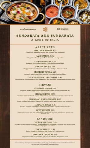 Rustic Indian Menu