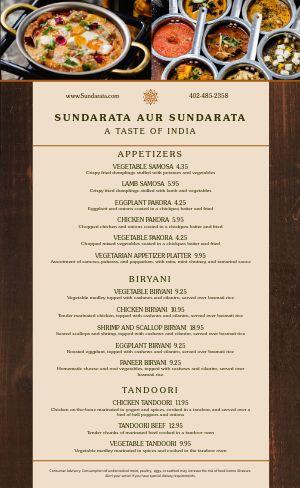 Rustic Indian Menu