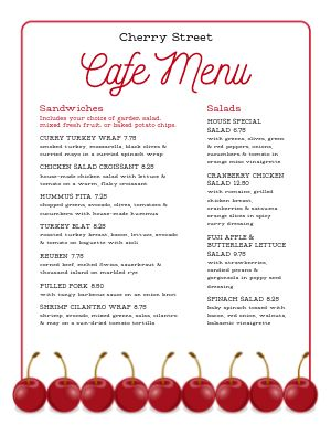 Cherry Cafe Menu