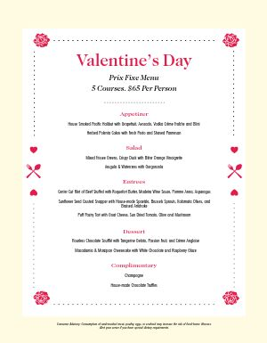 Basic Valentines Day Menu