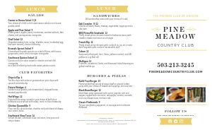 Simple Country Club Takeout Menu
